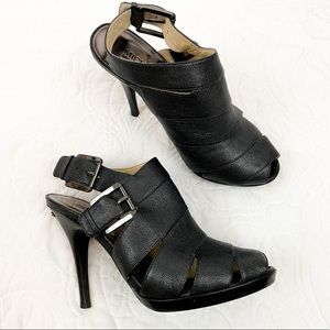 Michael Kors Black Leather Heels with side Buckles
